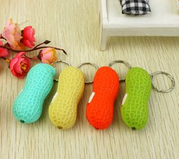 Wholesale Ra Led Flashlights - Lowest Price FREE FEDEX 500pcs lot RA LED Cute Bright Mini Peanut Torch Keychain 1LED Flashlight Gift Free Shipping