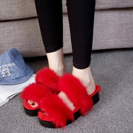 Wholesale Sexy Red Sandals Low Heel - Spring new platform plush sandals real rabbit hair sponge cake lady's slipper med heels furry slipper home sexy red color shoes