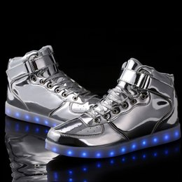 Wholesale Comfort Man - LED Light Up Shoes, Men's Sneakers Spring   Fall Comfort PU Casual Flat Heel Lace-up Silver   Gold Sneaker #05453058