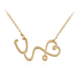 Wholesale Stethoscope Wholesale - 2017 new good friend friendship Collarbone chain necklace for girls lovers love stethoscope Pendant Necklaces statement Jewelry wholesale
