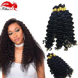 Wholesale Hot Black Weaves Brazilian - Hannah Deep Weave Bulk Braiding Hair, 100% Human Hair,Micro Braids,Hot Selling, Length 50g Each Bundle Color #1B and Jet Black