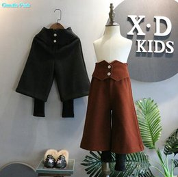 Wholesale Black Leggings Small - children's clothing 2017 winter new girls foreign small high waist false two pieces of woolen wide leg leggings pants