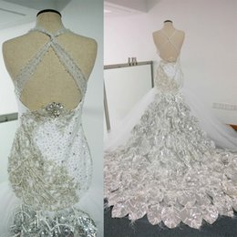 Wholesale Mermaid Feather Sweetheart Wedding Dress - 2016 New Sexy Gorgeous Vestidos Sequins Crystal Feather Mermaid Sweetheart Sleeveless Hollow Sweep Train Stain Tulle Wedding Dresses Dhyz 01