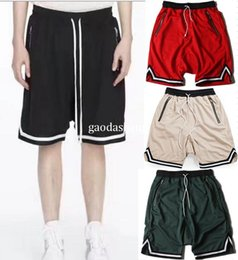 Wholesale Woman Summer Overalls - 2017 New High quality summer men women Striped Shorts High Version Zipped Pockets Basketball Mesh Shorts Free Shipping 6 color