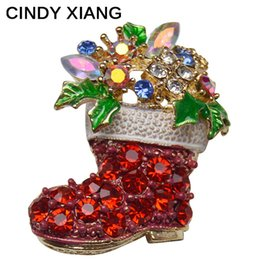 Wholesale Wholesale Shoes For Crystals - CINDY XIANG Rhinestone Boots Brooches Pins for Women Cute Red Color Christmas Shoes Brooch Coat Backpack Fashion Jewelry high quality hot