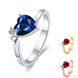 Wholesale Gold Inlay Ring - Big Gemstone Ring Classic Lady Heart Ring 18K Rose & White Gold Plated Inlaid Cubic Blue Red Zircon Jewelry Women Wedding Party Ring