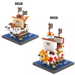 Wholesale Boat Figures - LOZ Mini Building Blocks Going Merry Action Figure Diamond Blocks Compatible Legoelieds Merry Luffy's Boat Toy For Children Gifts 9828-9829