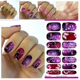 Wholesale Transfer Paper Designs - Wholesale- K5671 Water Transfer Foil Nails Sticker Purple Flower Theme Design Nails Stickers Manicure Styling Tools Water Film Paper Decals