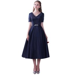 Wholesale Banquet Tea - 2017 New Style Banquet Elegant Prom Dresses Navy Blue Simple V-collar Short Sleeves Tea-length Party Gown Robe De Soiree