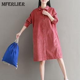Wholesale Loose Long Shirts Girls - Mori Girl Autumn Winter Corduroy Shirt Dress Solid Turn Down Collar Long Sleeve Vestidos Femininos Loose Artsy Dress