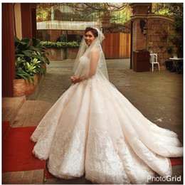 Wholesale Puffy Photo - Ball Gown White Lace Applique Organza Strapless Wedding Dresses Detachable Train Puffy Wedding Dresses Bridal Gowns 2017 Custom Made