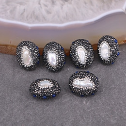 Wholesale Egg Shaped Beads - 10pcs Natural Freshwater Pearl Beads, Pave Crystal Zircon Beads, Egg shape Gem Connector Beads For Jewelry Making