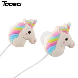 Wholesale Stereo Cartoon - Special Unicorns Cartoon Earphones Colorful Rainbow Horse In-ear Earphone 3.5mm Earbuds With Mic Mini Earphone For Smartphone