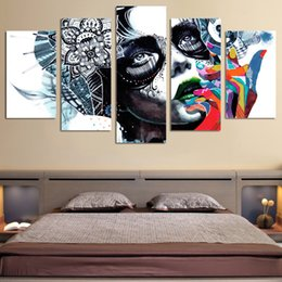 Wholesale framed oil painting girls - 5Pcs Set Framed HD Printed Canvas Prints Wall Art Abstract Girl Mask Painting Picture Print Home Decor Figure Canvas Painting