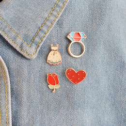 Wholesale Collar Pin Wholesale China - 2017Heart Rose Flower Skirt Dress Brooch Pins Button Fashion Cartoon Icon Brooches Pin For Women Jacket Collar Lapel Badge Jewelry Wholesale