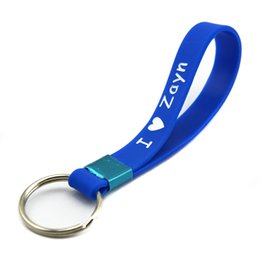 Wholesale 1d direction - Wholesale 50PCS Lot One Direction Silicone Key Ring I Love Harry Niall Zayn Liam 1D Keychain