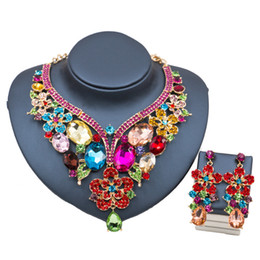 Wholesale Palace Glass - Lan Palace Glass African Beads Bridal 2017 Jewelry Set Hot Sale Gold Plated Necklace And Earrings Jewelry Sets For Wedding