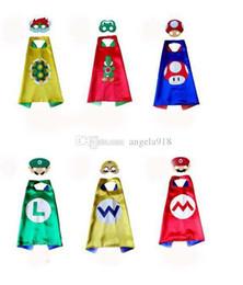 Wholesale Christmas Shawls - DHL 6 styles Double Super Mario Cape Mask Sets 2017 Super Mario Shawl and Mask 2pcs set for children 70*70CM C1683