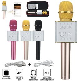 Wholesale Outdoor Home Speakers - Ktv Sing Karaoke OK Microphone Q9 Wireless Bluetooth Microphones With Speaker Mini Home Outdoor KTV For IPhone