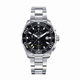 Wholesale Black Sports Watch - AAA Top Luxury Brand Men's Chronograph Watch 43mm Ceramic Bezel Stainless Steel Quartz Movement Sports Men Watches Aquaracer Wristwatch