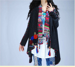 Wholesale Mexican Jacket - Wholesale- Mexican style ethnic cardigan Vintage 70s long sleeve v neck flowers appliques asymmetrical coat brand jacket outwear knitwear