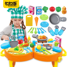 Wholesale Play Food Wholesale - GouGouShou Children Food Cook Kitchen Utensils Toy Portable Kits Children Cosplay Role Play Baby Cutting Vegetables Classic Toys