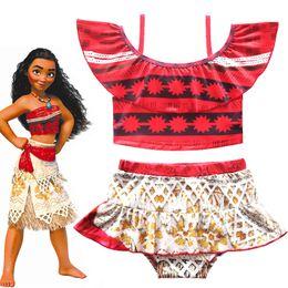 Wholesale Wholesale Teen Girls Clothing - Cartoon ruffled collar Moana Girls Dresses Bikini Summer Swim Wear for Children Kids Fashion Swimmable Bodysuit Beachwear Teen Clothing