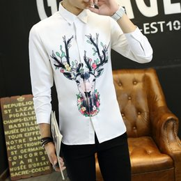 Wholesale Teenagers Casual Shirts - High Quality 2017 New Arrival selected Autumn men shirts DIY prints Casual long sleeve men Shirts Fashion for teenagers students plus size