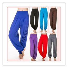 Wholesale Cotton Belly Dance Pants - Outdoor Wear Yoga Pants Womens Modal Cotton Lady Soft Yoga Sports Dance Harem Pants Belly Dance Yaga Wide Pants Trousers Free Shipping