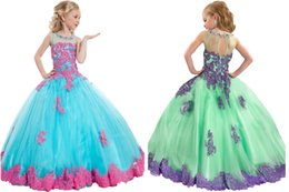 Wholesale Bridesmaids Kids Gowns - In stock Appliques Beads Little Girls Pageant Dresses Handmade Kids Party Ball Gowns Junior Bridesmaid 2017 New Cheapest Christmas Girls