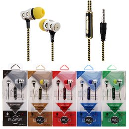 Wholesale Earbuds New Arrival - New Arrival Earphones Braided Headset Headphone Nylon with Mic Earbuds Universal 3.5mm in ear Plating Earphones