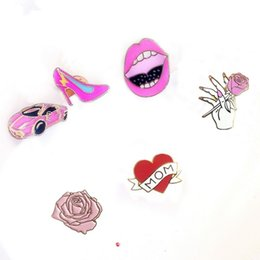 Wholesale Sexy Metal Clothing - Wholesale- Cartoon Cute Sexy Lip Heart Car Rose Flower High Heel Shoe Metal Brooch Pins Button Pins Jeans Clothes Decoration Girl Gift
