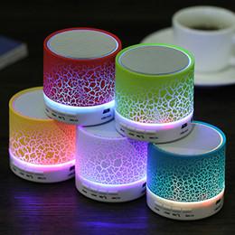 Wholesale Cheap Computer Stereos - Smart LED Light Crack Mini Wireless Bluetooth Speaker Portable Bluetooth Stereo Speaker Support TF Card For iphone Smart phone Cheap