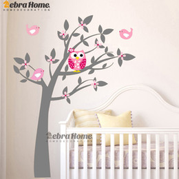 Wholesale Owl Baby Room - Owl Vinyl Tree Wall Sticker Decals Mural Wallpaper Children Kids Baby Room Nursery Bedroom Sticker New Year Tree Home Decoration