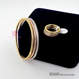 Wholesale Brass Christmas Ornaments - Full CZ AAA Zircon Stone Micro Inlay Pave Bangle Ring Set Bracelets Wristlet Hight Quality Diamond Jewelry Fashion Ornament Br008