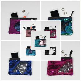 Wholesale Bag Cosmetic Coloured - Sequins Purse Gradient Color Mermaid Wallet 12 colors Christmas Festive Gifts Cosmetic Bag Change colour Coin purse Party Bag