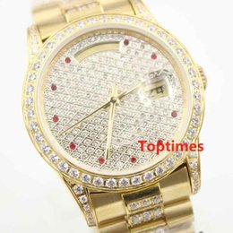 Wholesale Complete Couples - Full Diamonds Gold Men Watch Steel Dial Luxury Brand AAA Womens Ladies Automatic Day Date Couples Mens Watches WristWatches Iced Out