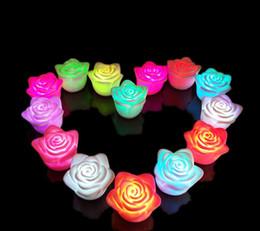 Wholesale c7 bulb candle - New Romantic Changing LED light Floating Rose Flower Candle Night Wedding Decoration for Nightlight Holiday