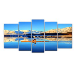 Wholesale Mountain Wall Painting - 5 Pieces Canvas Paintings Tibet High Mountain Boating Painting Wall Art Canvas with Wooden Frame For Home Decor as Gifts