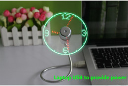 Wholesale Time Clock Usb - PVC soft fan blades laptop Gadget USB Mini fan Flexible Time LED Clock Fan with LED Light