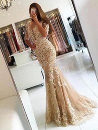 Wholesale Spandex Two Piece Dress - Champagne Mermaid Prom Dresses Scoop Neck Half Sleeve With Backless Lace Applique Elegant Formal Evenign Gowns 2016