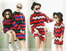 Wholesale Girl Knit Dress Stripe - New Baby Sweater Outwear Kids Stripe Sweater Dress Girl Winter Knitting Top Long Sleeve Top 2 Colors