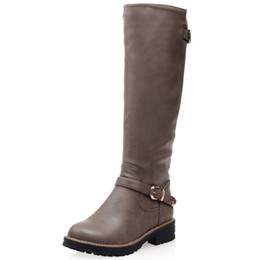 Wholesale Grey Long Boots For Women - Wholesale-Plus size 33-43 Fashion buckle knee high motorcycle boots Low heels ladies shoes roudn toe Knight boots for women Long Boots