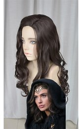 Wholesale Long Black Curly Cosplay Wig - Wonder Woman Princess Diana Diana Prince Black Mix Brown 70cm Curly Cosplay Party WIg