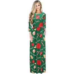 6e5ded11e458 2017 High Quality Christmas Santa Claus Snowman Print Vintage Maxi Dresses  Women Elegant Long Sleeve Party Vestidos
