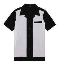 Wholesale Pinup Shirt - Free dropshipping vintage style retro design black with white stitching rockabilly pinup for man