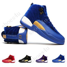 Wholesale Size 12 Mens Basketball - Free Shipping Jump man Air Retro 12 Womens Mens Basketball Shoes Blue Purple Black Red Velvet Heiress 12s Size US5.5-13 Come With Box