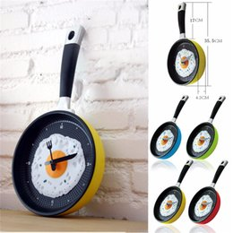 Wholesale Eggs Pan Wall Clock - Wholesale- Plastic Fried Egg Frying Pan Kitchen Novelty Wall Clock Gift Cafe Clock Fork Knife Hands Wall Clocks Durable