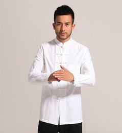 Wholesale Classic Chinese Clothing - Wholesale- White Men Cotton Linen Long sleeve Kung Fu Shirt Classic Chinese Style Tang Clothing Size S M L XL XXL XXXL hombre Camisa Mim903