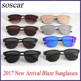 Wholesale Golden Leather - 2017 New Arrival 3576N BLAZE Sunglasses for Women Fashion Flash Mirror Sunglasses Soscar Brand Designer Sunglasses with Original Leather Box